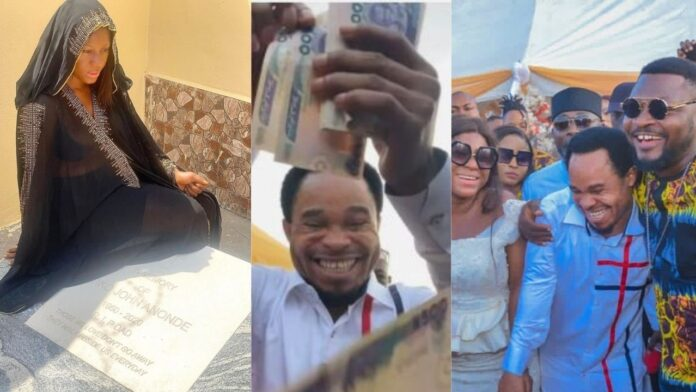 Prophet Odumeje sprays a million at Actress Destiny Etiko father's burial(video)
