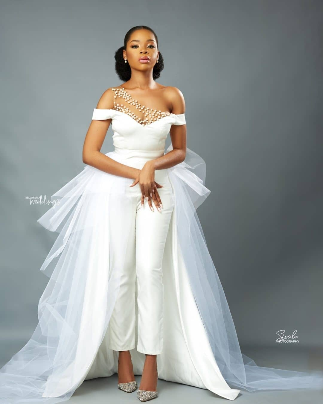 Bridal Jumsuit Style With Ruffled Capes