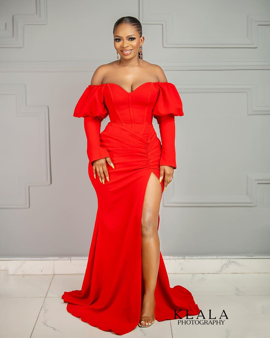Mutton Sleeve Gown With Side Slit