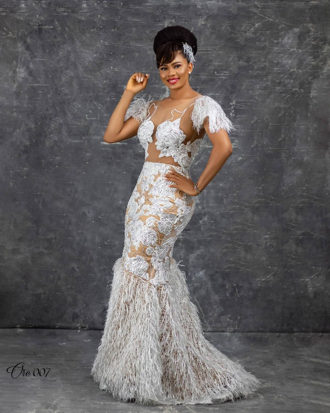 Cap Sleeve Gown With Fringe Frock Gown