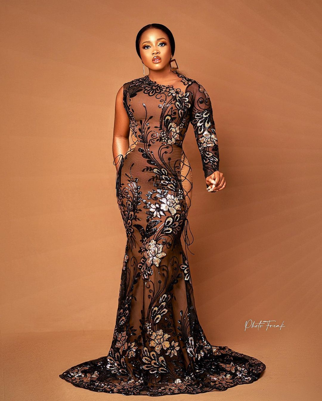 One Hand Long Sleeve With A-line Gown