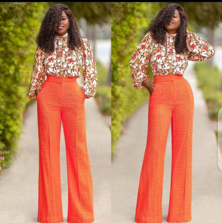 lady wearing long sleeves shirt with orange palazzo