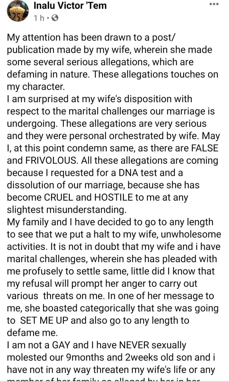 """""""All these allegations are coming because I requested for DNA test"""" Man accused of sexually molesting his son hits back at wife"""