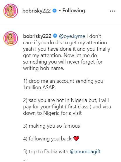 Controversial crossdresser, Bobrisky has gifted another lady who got a tattoo of his full name N1M and a trip to Dubai.