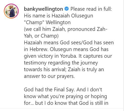 Banky W and Adesua announce their son's name, it's meaning