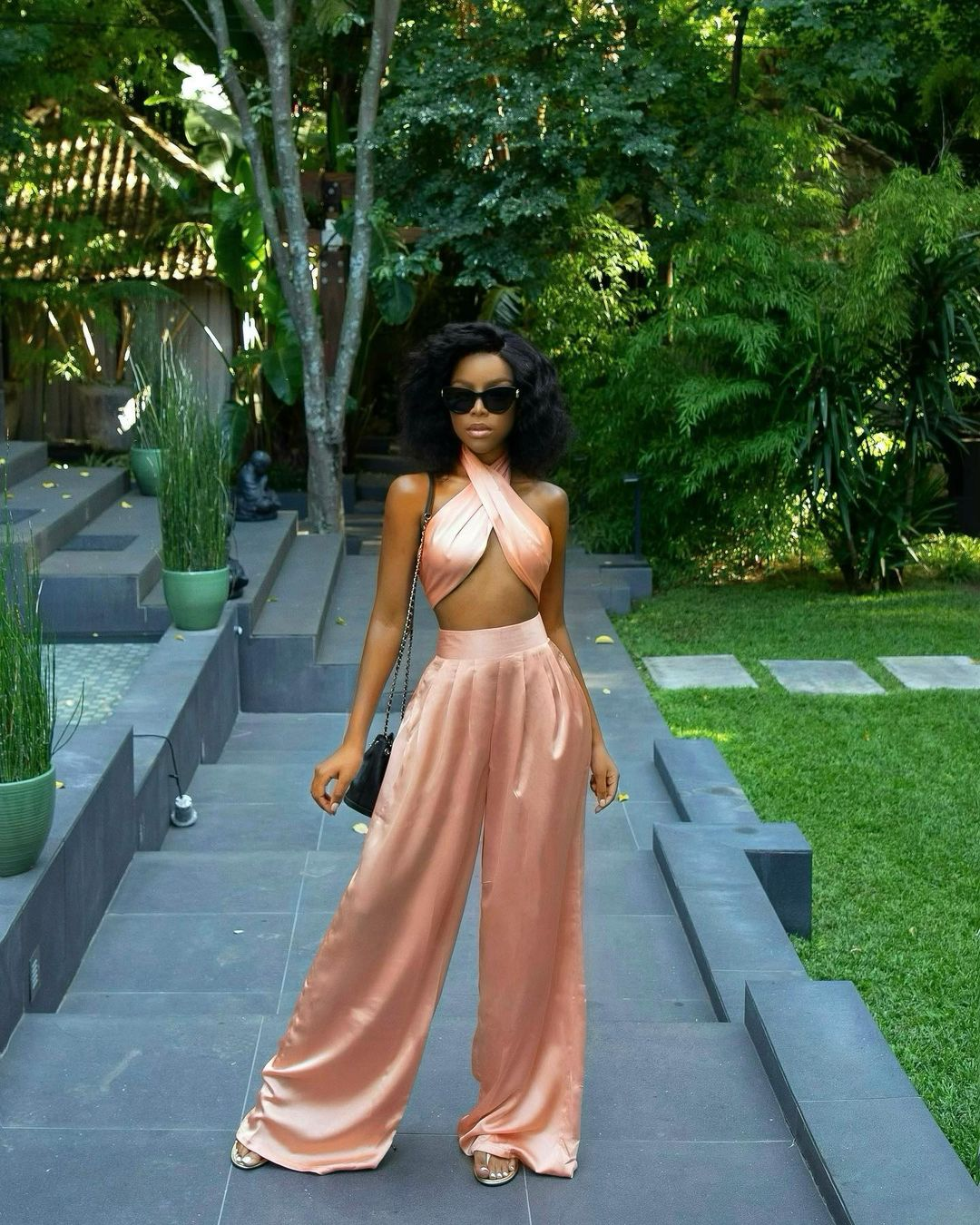 Julitha Kabete Captivating Peach Two Piece Outfit Gets The Attention