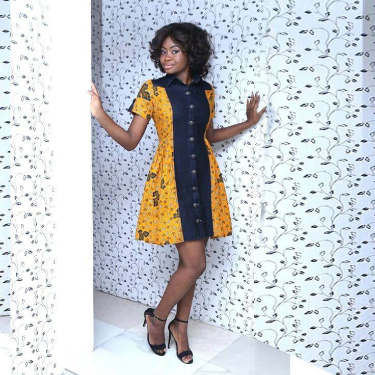 lady wearing ankara and jeans short gown