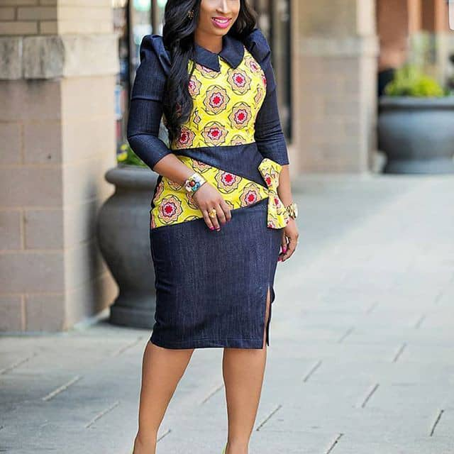 lady in ankara and jeans combined dress