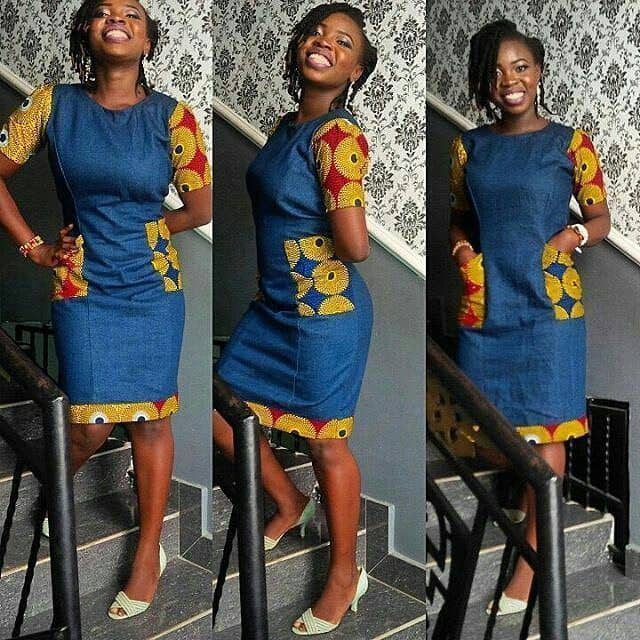 smiling lady wearing jeans and ankara dress