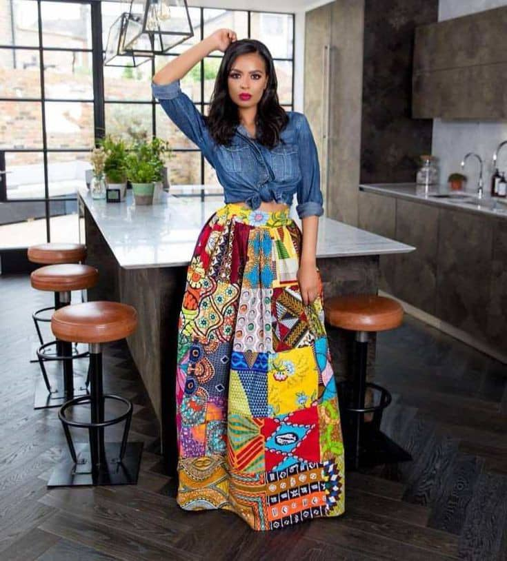 lady in jeans shirt and ankara maxi gown