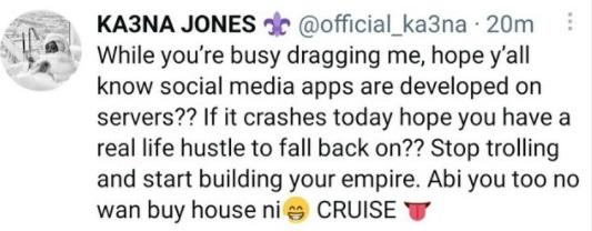 """""""Start building your own empire"""" - Ka3na fires back after being dragged for bragging about owning a house before BBN"""