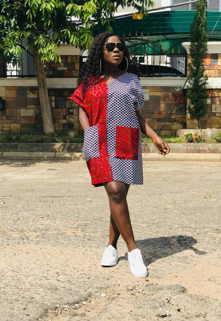 Ankara Dress With Patched Pockets