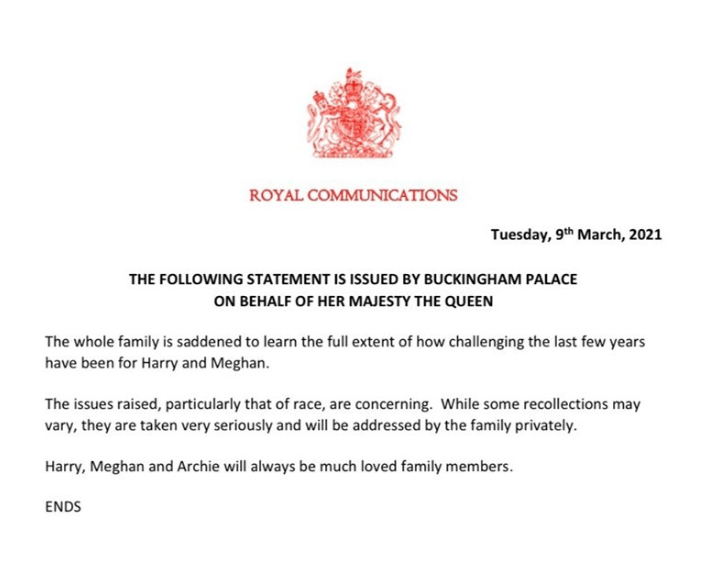 Royal Family reacts to Meghan Markle's allegation