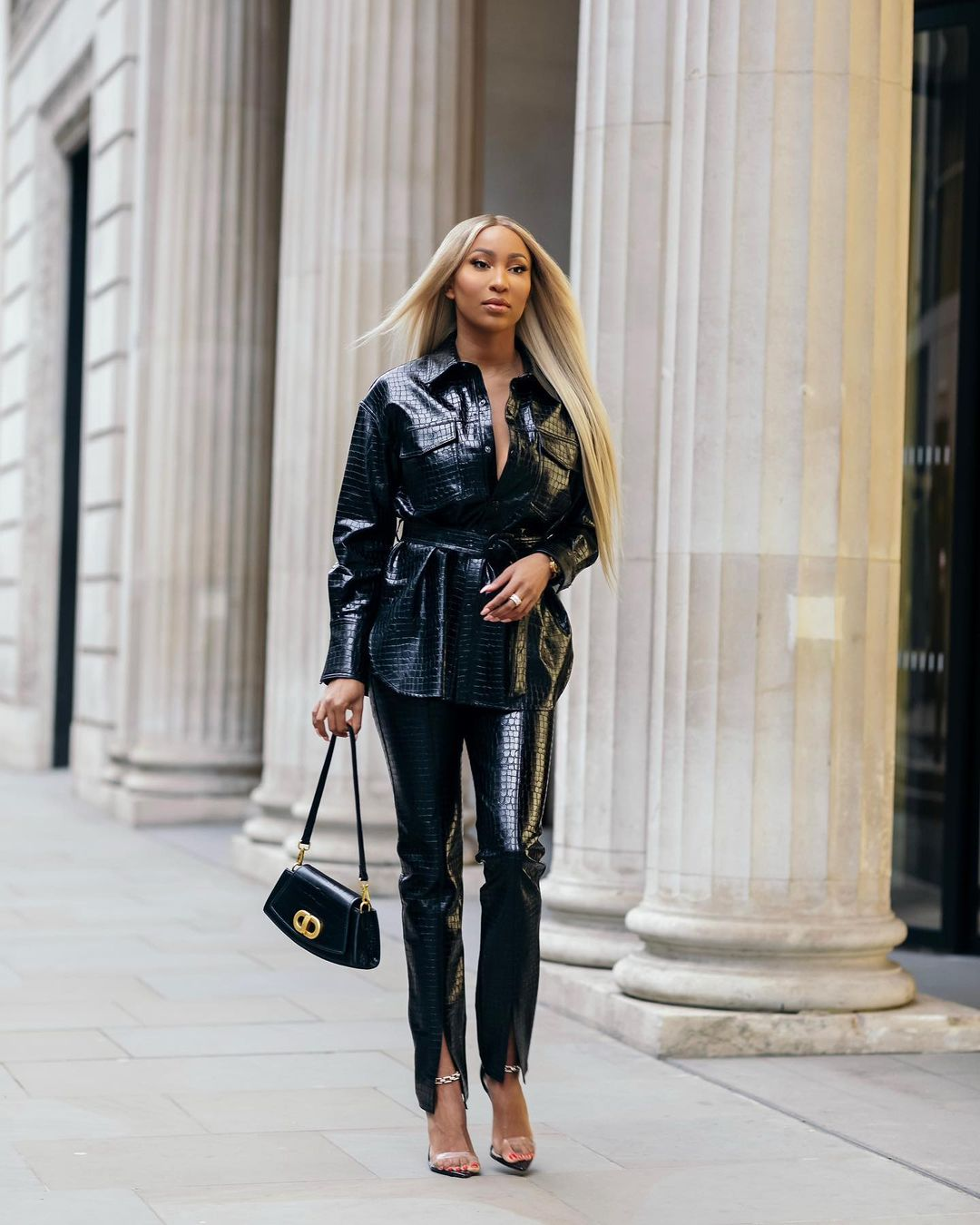 Toni Tone Look Gorgeous In Leather Overall