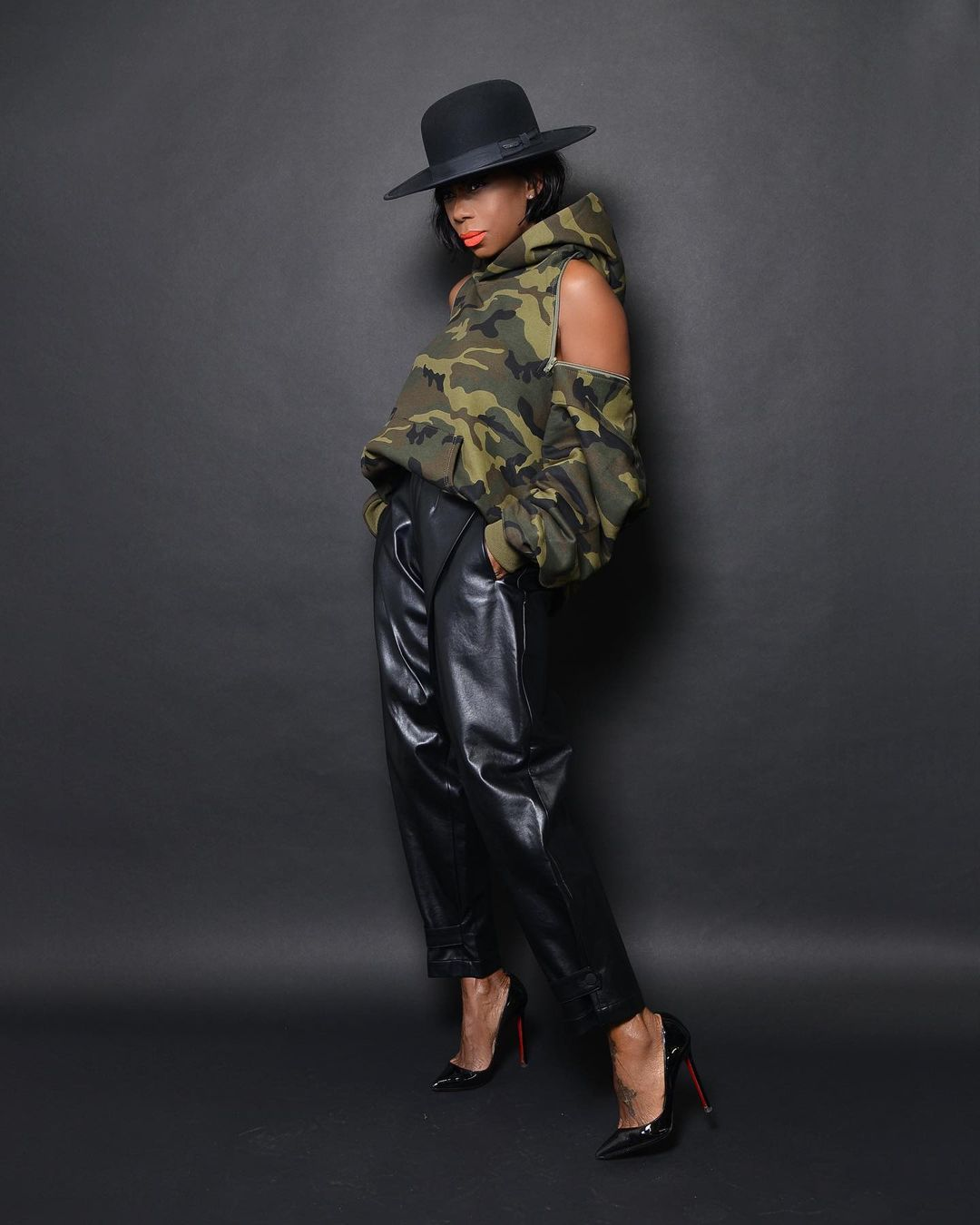 Sade Akinosho Keep It Stunnaing In Leather And Camo