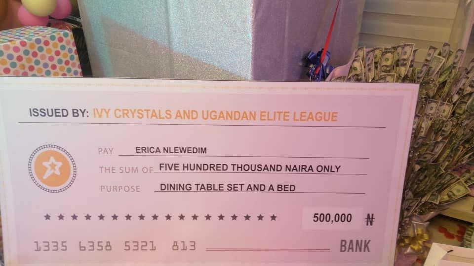Erica gets 500K dining set, 600K sofa, giant money cake and tons of gifts