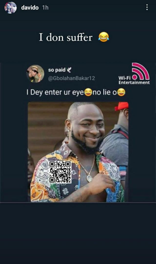 """I don suffer"" - Davido reacts to his photo used as funny meme"