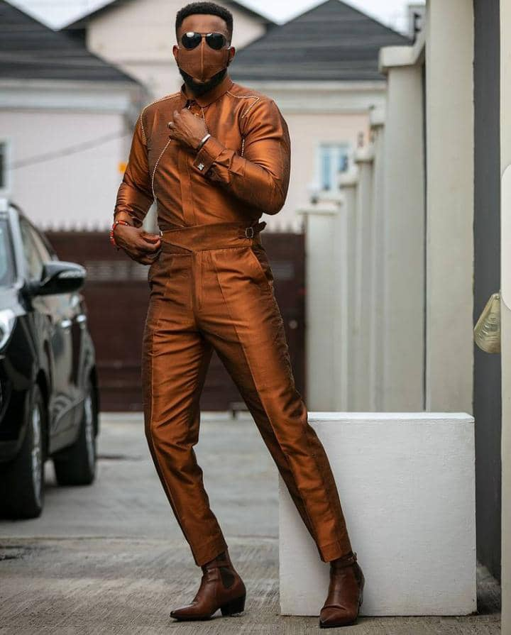 Ebuka in a stylish all brown outfit