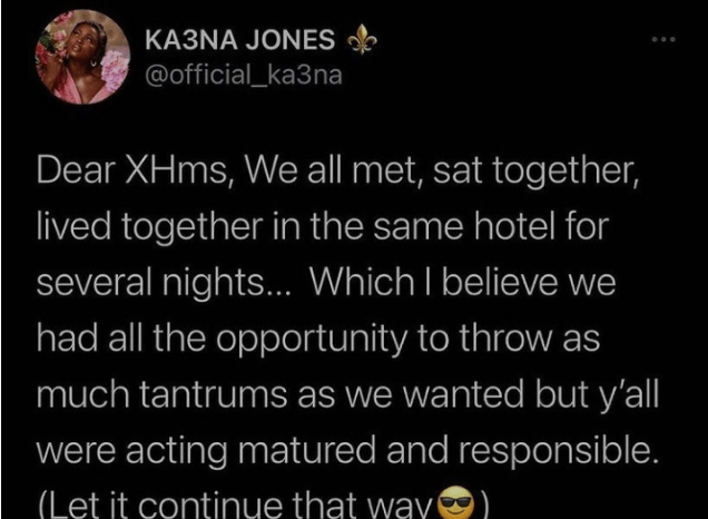 Reality star, Ka3na Jones has sent warning to her fellow housemates following the commencement of the BBNaija lockdown reunion show. In a Twitter post, ka3na urged the other housemates to maintain the maturity they had