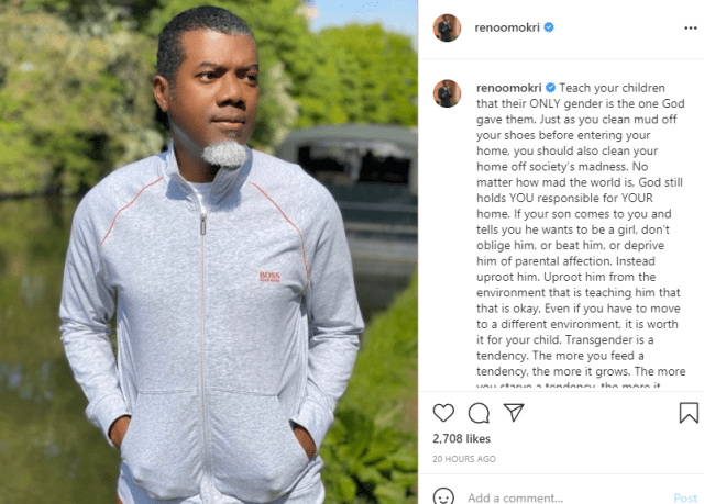 Teach Your Children That Their Only Gender Is The One God Gave Them - Reno Omokri To Parents
