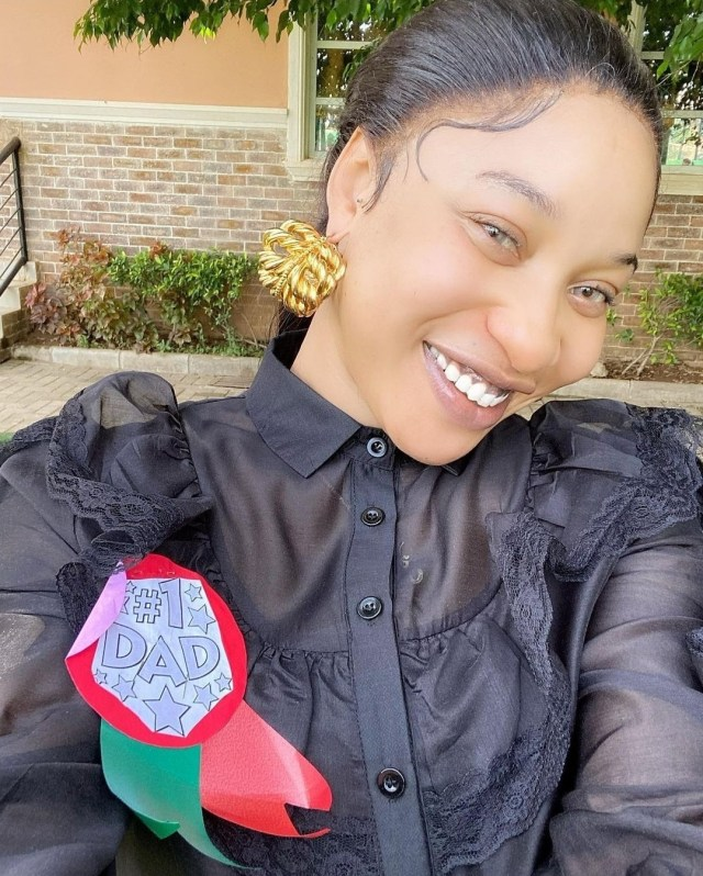 Tonto Dikeh Gets No 1 Dad Badge At Sons School And Sweet Note From Her Son In Celebration Of Fathers Day