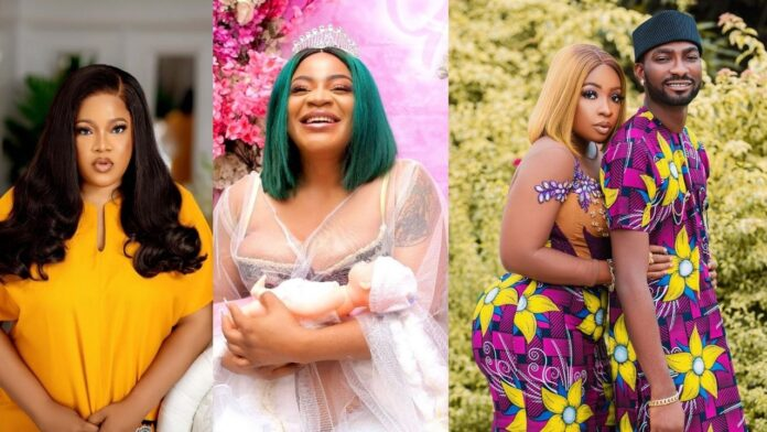 """""""You are next in-line"""" – Toyin Abraham prays for Anita Joseph as Uche Ogbodo welcomes another baby."""