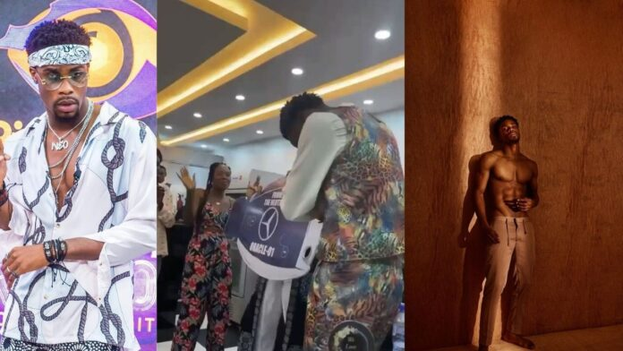 #BBNaija : Neo's fans gift him a Mercedes Benz and 2million naira for his Birthday (Video)