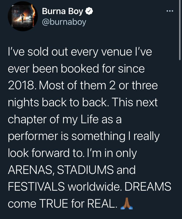 """""""I've sold out every venue I've ever been booked for since 2018"""" - Burna Boy counts his blessings"""